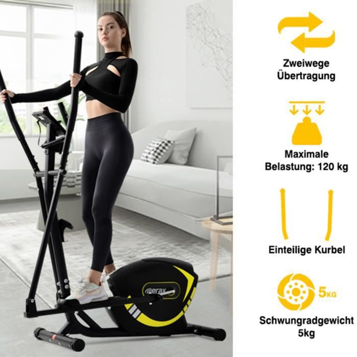 Vélo Elliptique 8 niveaux de résistance magnétique Masse d'inertie 5 kg max.120 kg-Jaune