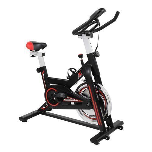 Vélo d'appartement,avec siège, guidon réglable, capteur, Vélo Maison Entraînement Gym Noir et Rouge 105*50* (108-118)cm