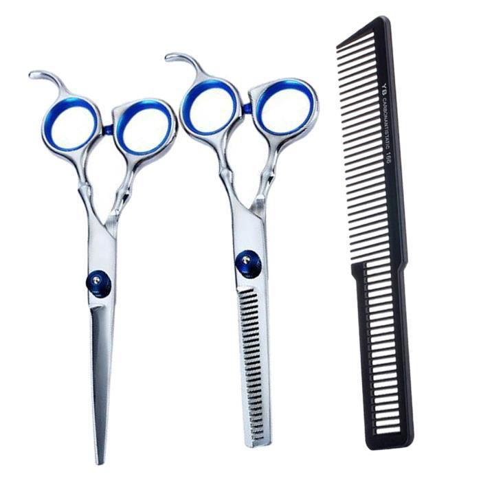Ciseaux Coiffure Professionnel 3pcs Kit Ciseaux Désépaissir Inox Coupe de Cheveux avec Peigne de Coupe pour Coiffeur Salon de