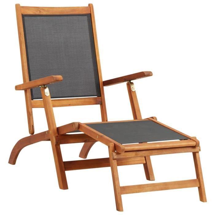 Chaise longue de jardin Bois d'acacia solide et textilène - Bains de soleil, Fauteuil de Jardin, Transat jardin