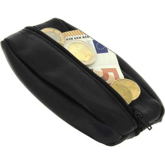 Karl Loven - Porte-Monnaie Homme En Cuir Véritable - Petit Format Noir - Léger Fin Et Résistant - Double Compartiment - Monnaie -