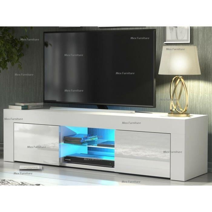 Meuble TV / Meuble de salon - NOUVEAU- 130 cm - blanc mat / blanc brillant - avec LED - 2 niches