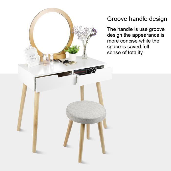 Royalbell® Coiffeuse, 2 Tiroir , Miroir rond, pieds en pin massif, 80 x 40 x 128 cm, tabouret housse lavable