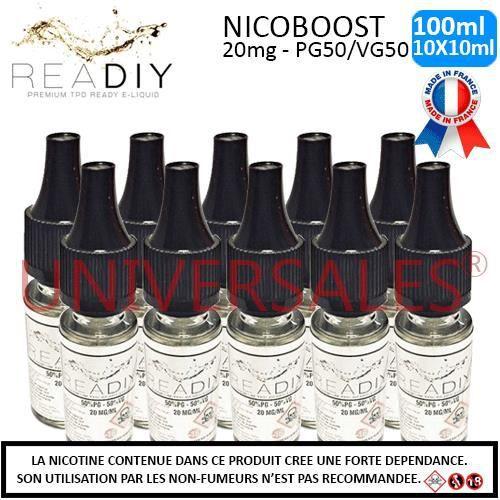 E-liquide Nicoboot 20mg - Lot de 10 flacons de 10ml soit 100ml – PG50/VG50
