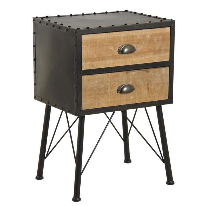 Table de nuit de style industriel en métal noir et bois.