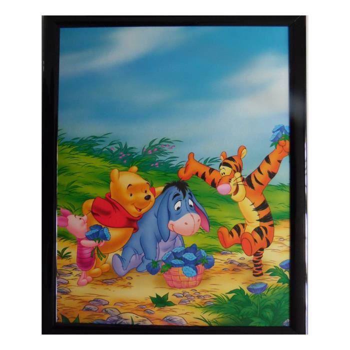 Tableau Winnie l'Ourson, Porcinet, Tigrou et bourriquet 20 x 25 cm Disney cadre fleur rect