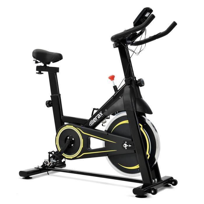 Vélo Spinning Biking d'Appartement Cardio, Poids d'Inertie de 10 KG, Programme, Silencieux, Guidon et Siège Réglable, Jaune - Merax