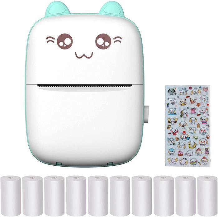 Mini Imprimante Photo, Imprimante Photo Thermique Portable Avec 10 Rouleaux De Papier Thermique Et Un Autocollant Compatible Ave231