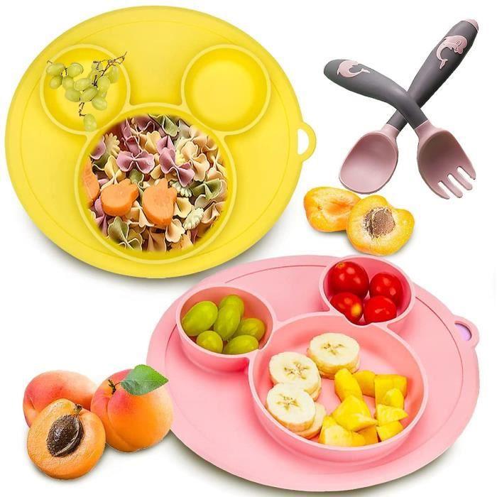 Assiette Bébé Silicone, Senteen 2pcs Assiette Ventouse Réutilisable Vaisselle Silicone Bebe Assiette Antidérapante Bébé Assiett A22