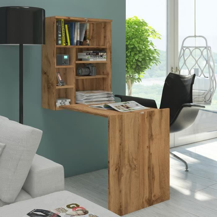 Bureau escamotable / Bureau rabattable - FUNCTION - 60 cm - chêne wotan - 7 niches ouverts - design moderne