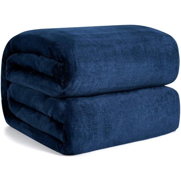 Hansleep Plaid Couverture Polaire Couvre-lit 220x240cm - Bleu Marin Plaid Canapé Grande Taille, Couverture Lit 2 Personnes Douce et
