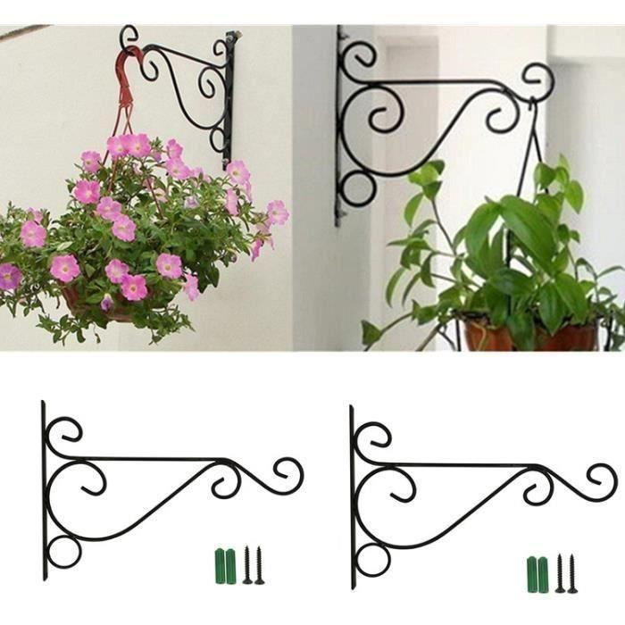 Lot de 2 Panier à Suspendre Support Mural Crochet pour Plante Fleur Décoration de Crochet pour Panier de Jardin Lanterne pelo L06CE