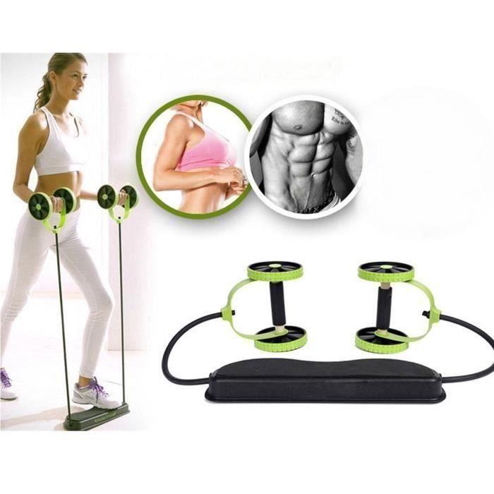 2 Roues Roller élastique abdominale Résistance Tirer Corde Fitness Bande Rope Ve74319