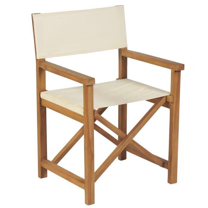 SOLDES-3428Chaise de jardin Chaise pliable de metteur en scène Fauteuil de Jardin Chaises de Camping Chic & Moderne Bois de teck Bla