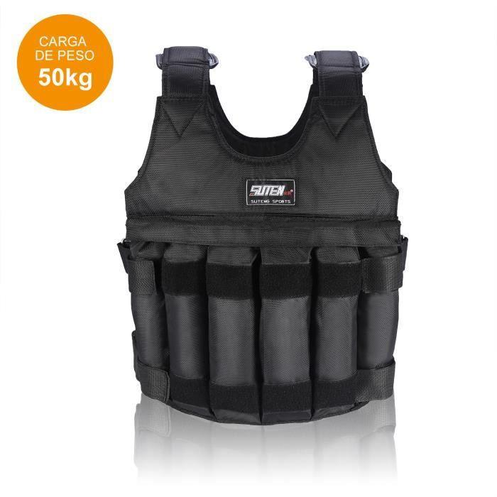 Gilet de veste 50 kg de chargement Poids Gilet d' Exercice Gilet noir réglable Vêtements