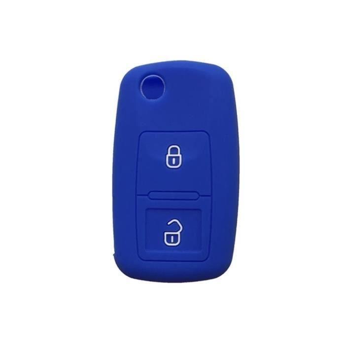 Etui Coque Housse Silicone clé Golf 4 Passat Polo Beetle Jetta Bora 2 Boutons (Bleu)