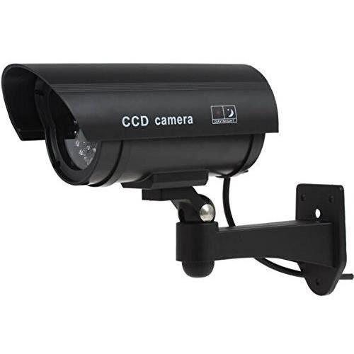 BG extérieure factice Fausse caméra de vidéosurveillance avec flash de lumière clignotante TW02 forme de balle Noir