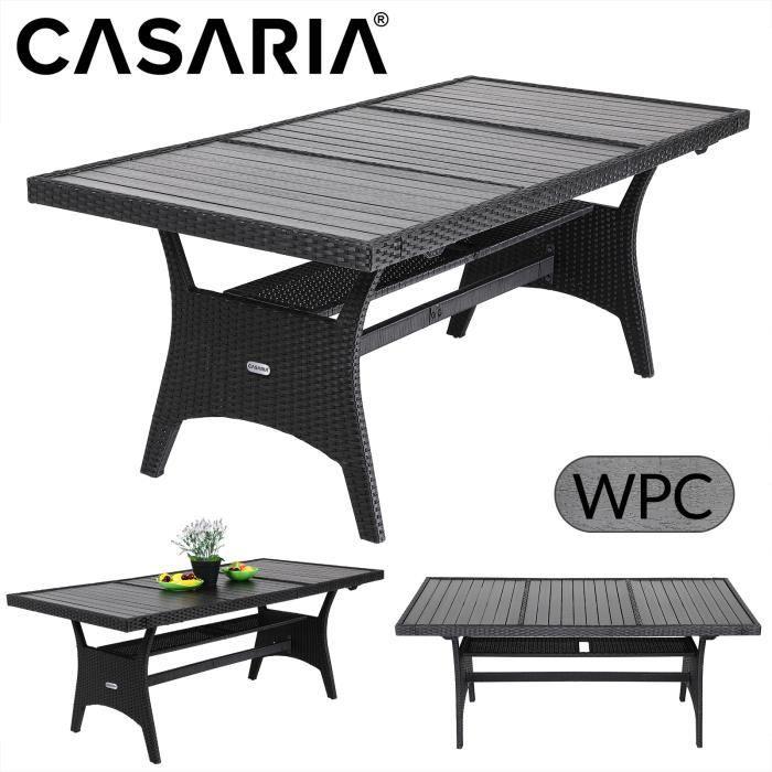 Table de jardin en polyrotin 190x90x75 cm noir-gris plateau en WPC bois composite terrasse balcon mobilier de jardin