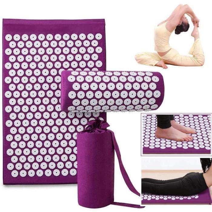 eTakin® Tapis d'acupression, Tapis Yoga d'acupression Kit, Tapis de Massage, Soulage dos et Nuque (Violet)