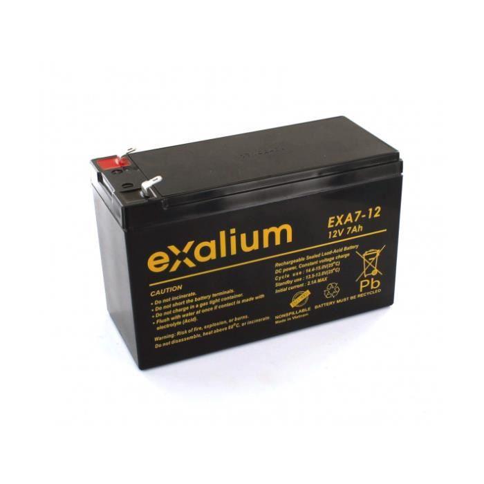 Batterie Plomb 12V 7Ah Exalium EXA7-12FR UL 94V-O
