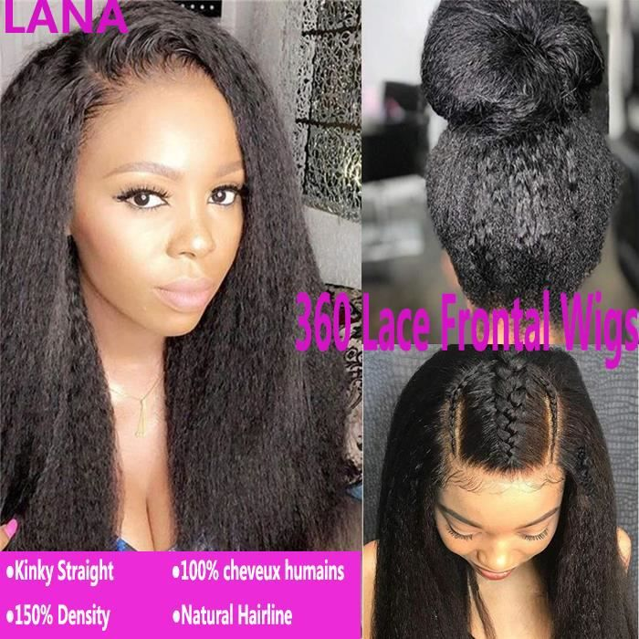 LANA 14Inches 360 Dentelle Frontale Perruques Kinky Straight 100% Cheveux Humains
