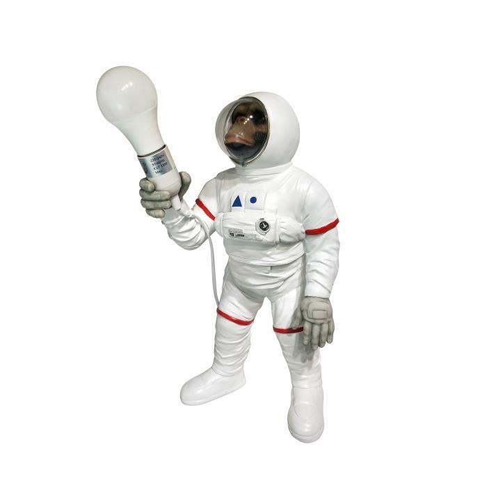 Statue Singe astronaute avec lumière - 24 x 22,5 x 47,5 cm - Blanc