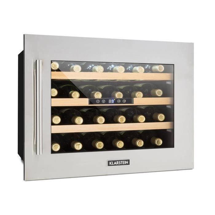 Klarstein Vinsider 24D Cave à vins Encastrable 2 zones de fraîcheur 24 bouteilles Inox
