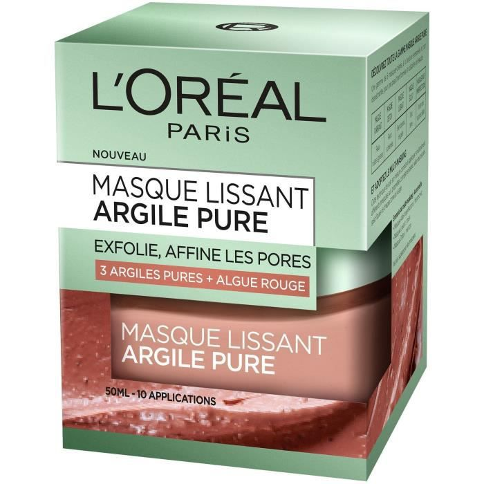 L'ORÉAL PARIS - Masque Visage Lissant Argile Pure - 50 ml