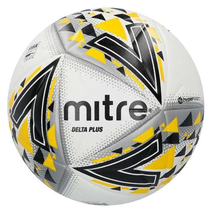 Mitre Delta Plus Ballon de football de football de qualité FIFA Pro blanc / noir / jaune