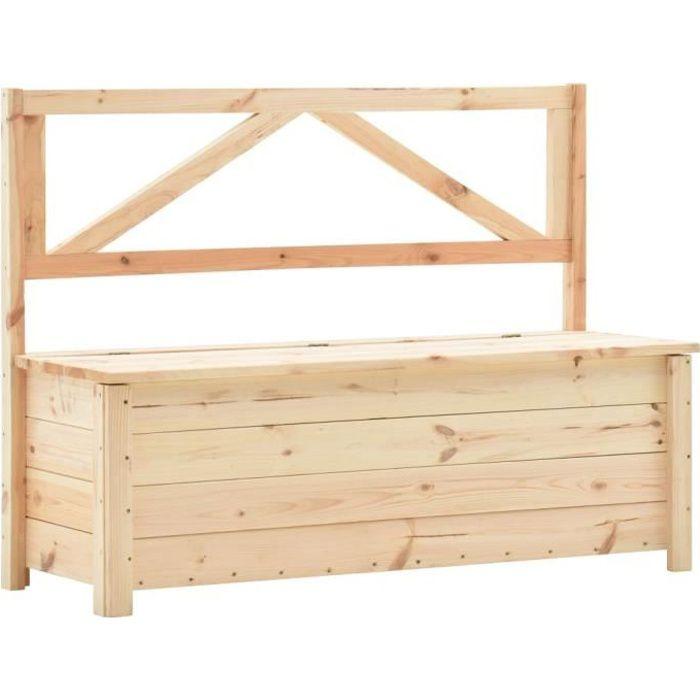 2816JILL® Banc Boîte de rangement de jardin Coffre de Jardin Malle de Rangement Retro Design 120 cm Bois de pin massif Size:120 x 45