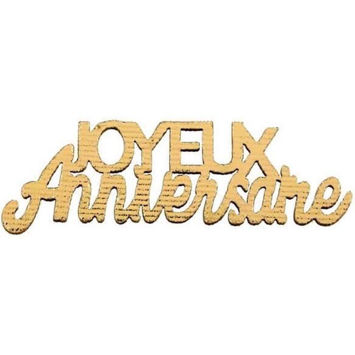 Décoration de table joyeux anniversaire or métallisé en bois (x10) REF/7405