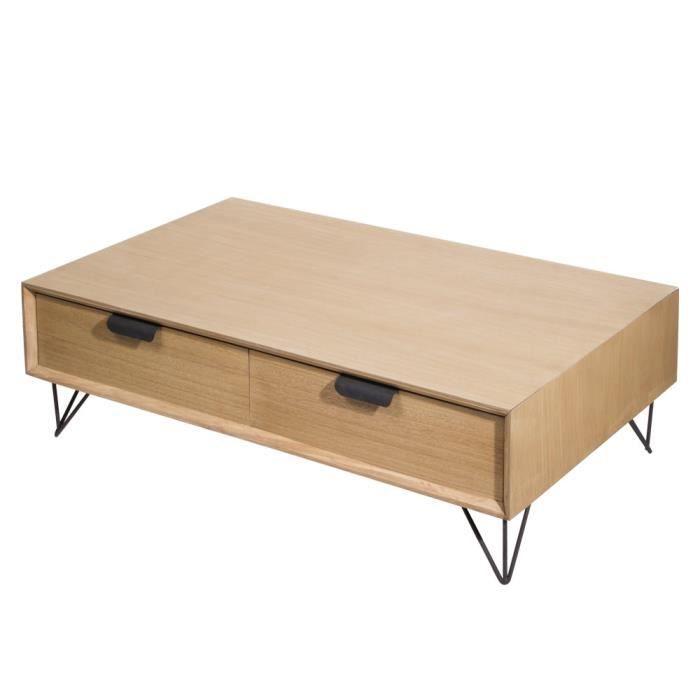 TABLE BASSE 4 TIROIRS 110X60XH34CM VIK BOIS ET METAL NEURE NEUTRE