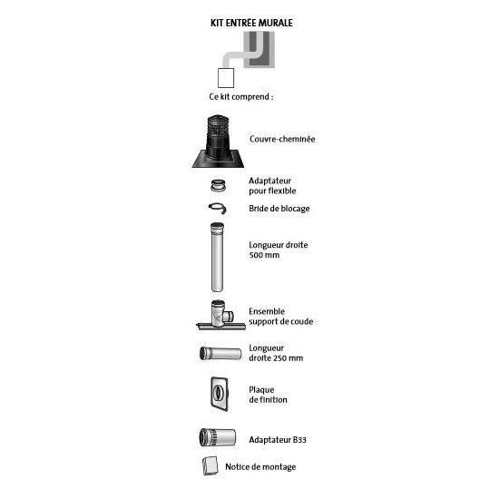 Ubbink 100020 - Kit Chemilux B33 PPTL entrée murale diam.80 Gaz/Fioul - noir