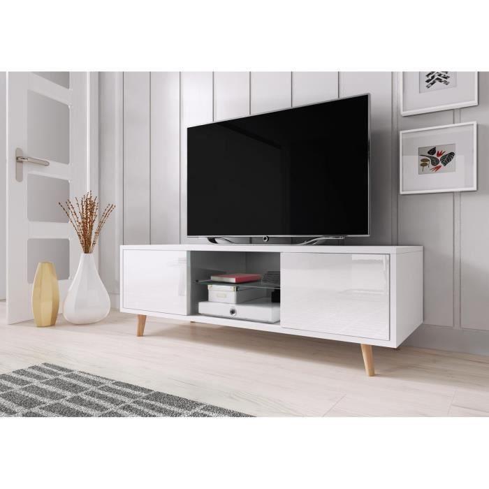 VIVALDI Meuble TV - SWEDEN - 140 cm - blanc mat / blanc brillant sans LED - style scandinave