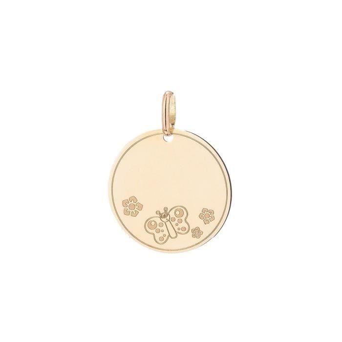 YSORA - Pendentif Médaille en Or Jaune 9 Carats - Enfant