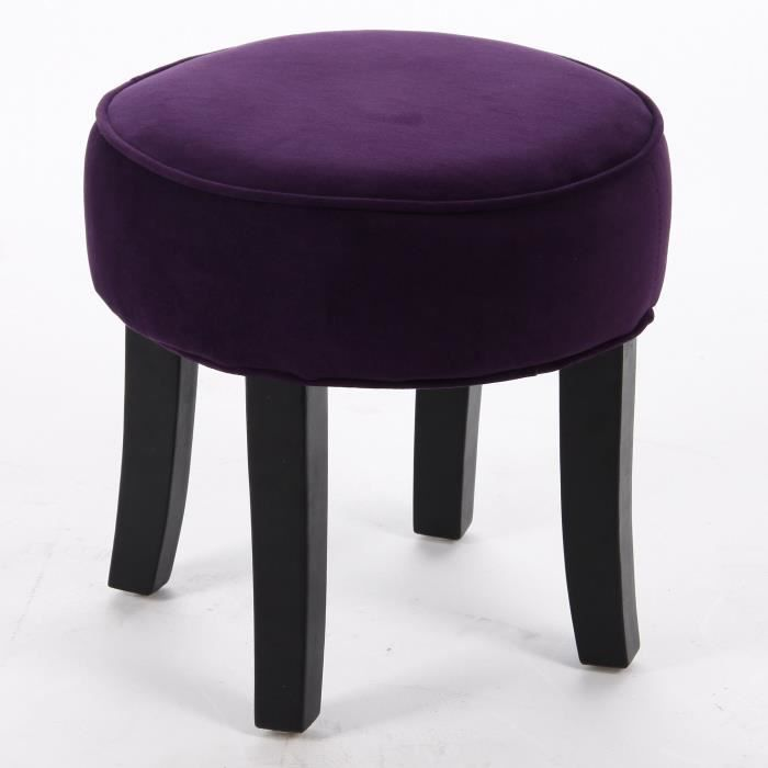 tabouret pouf rond aspect velours coloris viol achat. Black Bedroom Furniture Sets. Home Design Ideas