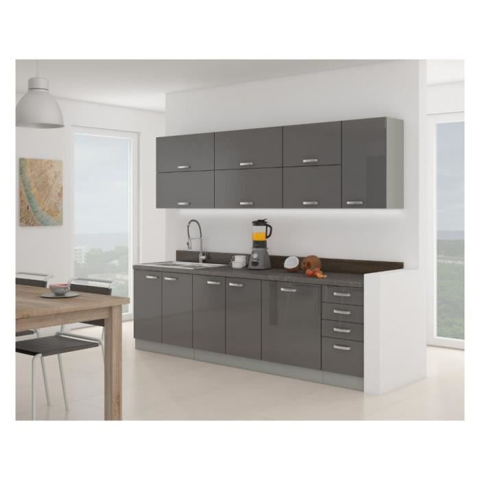 cuisine complete grey 260 cm 8 elements achat vente cuisine compl te cuisine complete grey. Black Bedroom Furniture Sets. Home Design Ideas