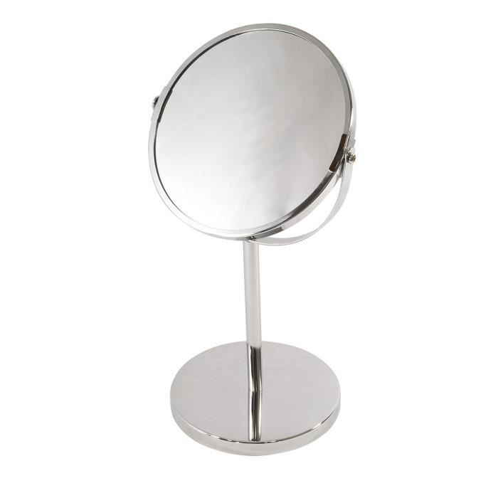 Miroir a poser metal chrome double face achat vente for Miroir double face