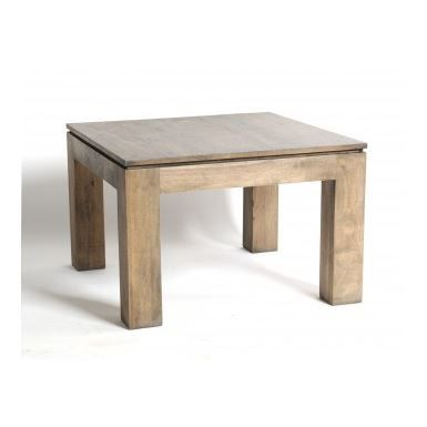 Table basse carr e en h v a gris huil achat vente for Table basse carree bois gris