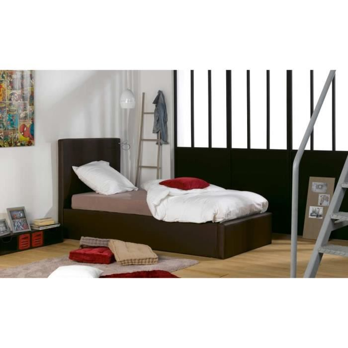 lit coffre 140x200 atlanta marron achat vente structure de lit lit coffre atlanta dimensio. Black Bedroom Furniture Sets. Home Design Ideas