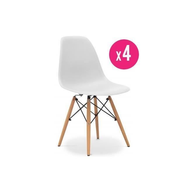 lot de 4 chaises dsw eames blanches achat vente chaise blanc cdiscount. Black Bedroom Furniture Sets. Home Design Ideas