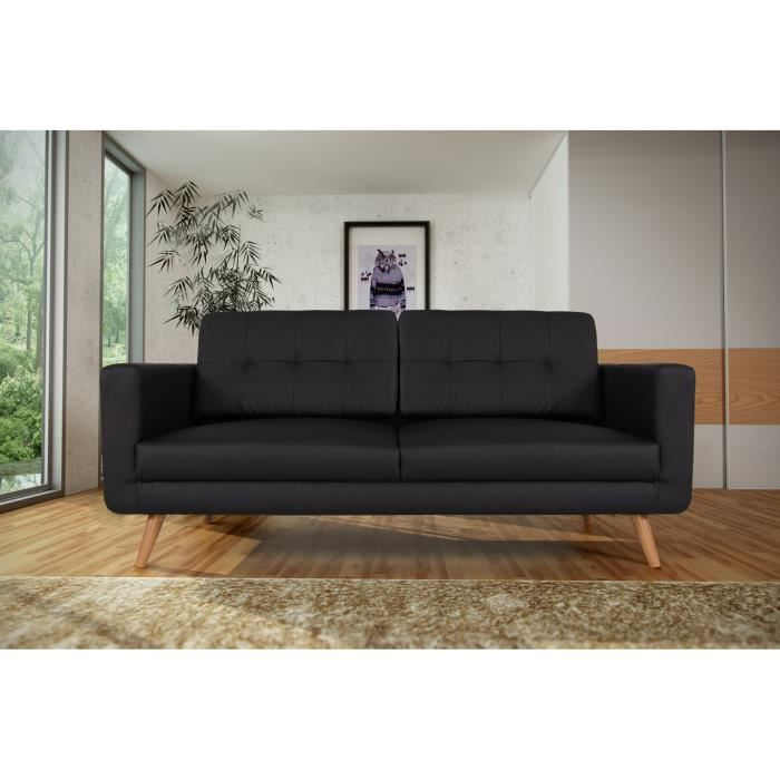 canap sofa divan canap fixe 3 places contemporain en pu noir tebes - Largeur Canape 3 Places