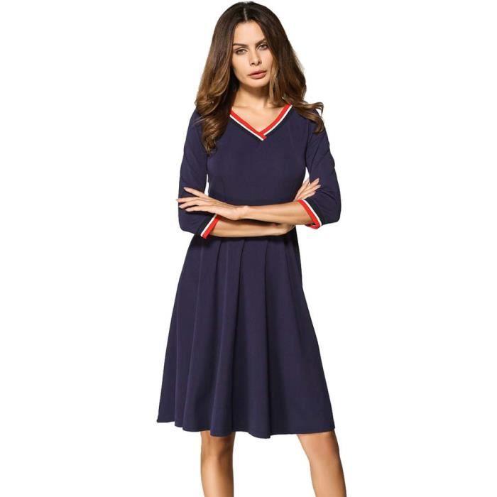 Mode Feminine Cadrage Aux Genoux V Cou Automne Robe Longueur Genou Capsdao3798 Bleu Bleu Achat Vente Robe Cdiscount