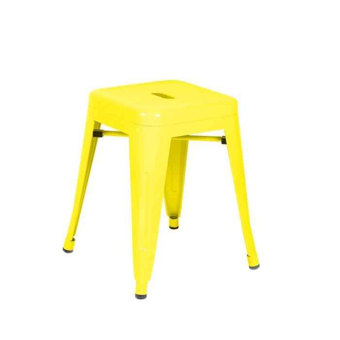 tabouret metal ural jaune unica achat vente tabouret jaune cdiscount. Black Bedroom Furniture Sets. Home Design Ideas