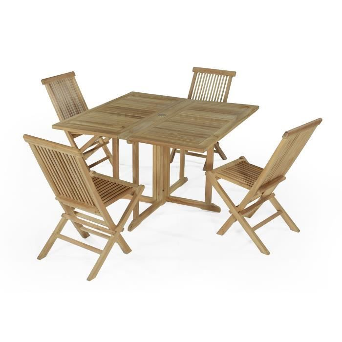 Salon De Jardin En Teck Ecograde Papeete Table Pliante Carr E 120 X 120 Cm 4 Chaises Java
