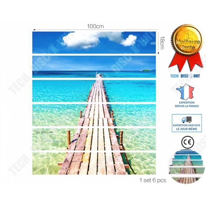 TD® decoration escalier interieur bois autocollant 6 pieces maison design  réaliste decoratif mer adhesif sticker cadeau muraux habit