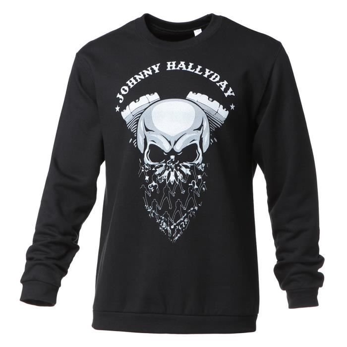 Sweat Biker Johnny Hallyday - Homme - Noir