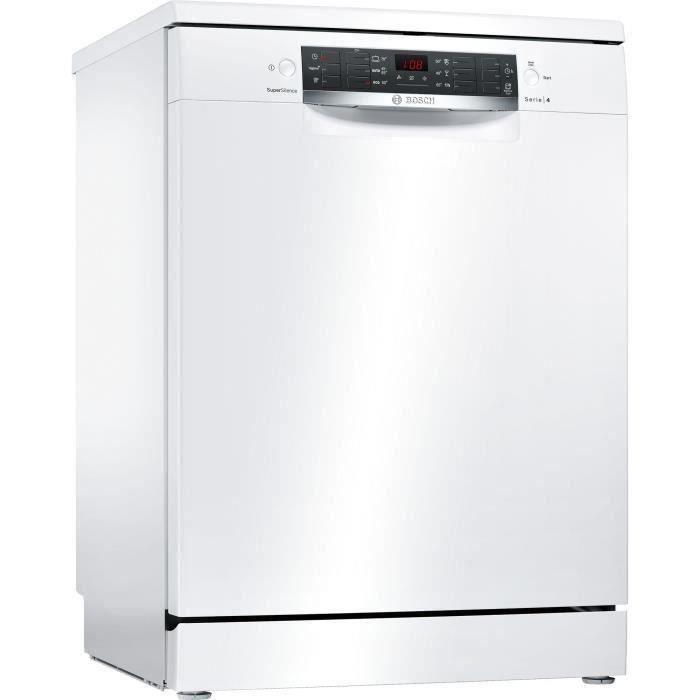 Lave-vaisselle pose libre BOSCH SMS46AW03E - 12 couverts - Moteur induction - Largeur 60 cm - Classe A+ - 44 dB - Blanc