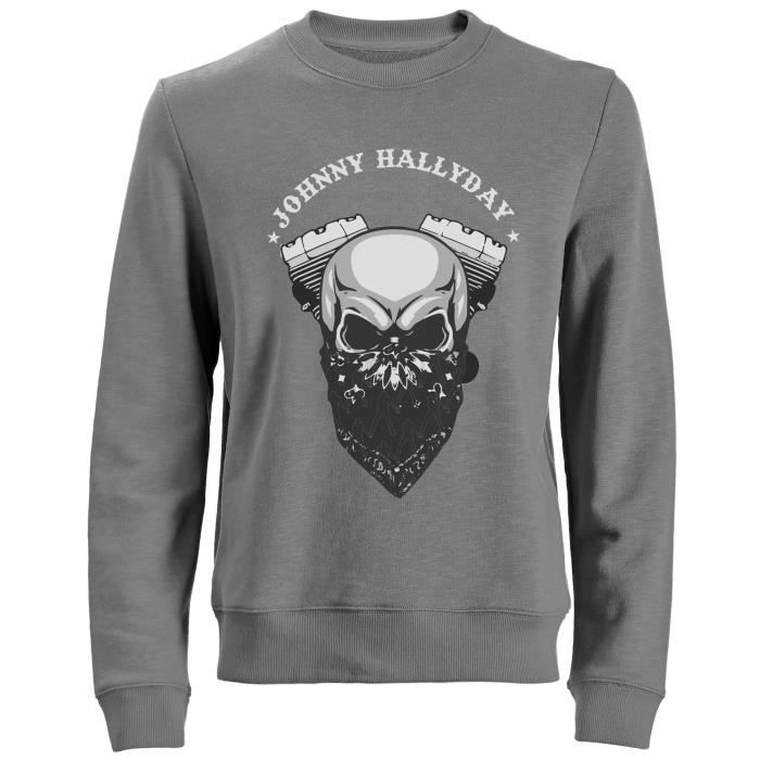 Sweat Biker Johnny Hallyday - Homme - Gris