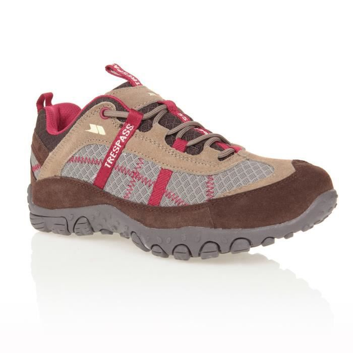 TRESPASS Chaussures de randonnée Fell - Femme - Taupe et cerise